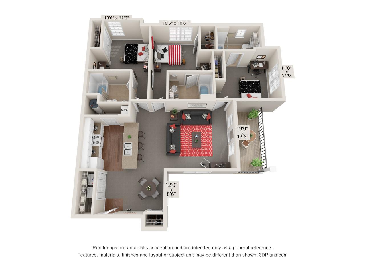 Capstone Quarters three bedroom standard