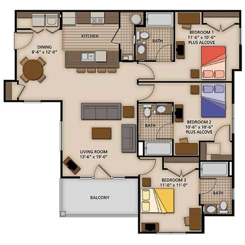 Three Bedroom Rentals: 2, 3 And 4 Bedroom Apartment Floor Plans