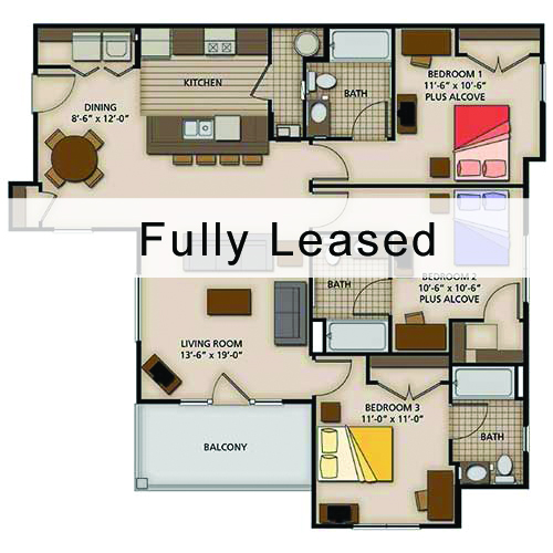 three bedroom standard - 4 Bedroom Apartments